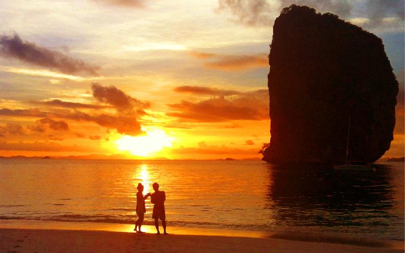 เที่ยวกระบี่ที่ไหนดี เที่ยว 7 เกาะ : อาทิตย์ตก
